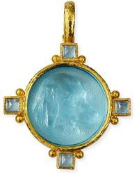 Elizabeth Locke 19k Gold Hound Head Intaglio Pendant With Aquamarine - Metallic