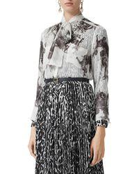 Burberry Amelie Bow-neck Printed Silk Blouse - Black
