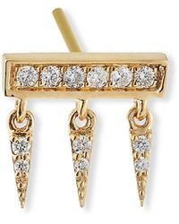 Sydney Evan - 14k Diamond Pave Bar Fringe Stud Earring, Single - Lyst