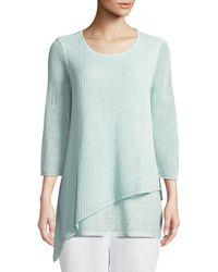 Eileen Fisher - Organic Linen 3/4-sleeve Round-neck Knit Tunic - Lyst