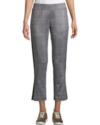 Pam & Gela - Glen Plaid Cropped Side-stripe Track Pants - Lyst