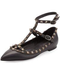 Valentino - Rockstud Noir Leather Ballerinas - Lyst