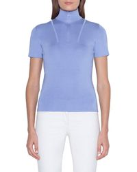 Akris - Short-sleeve Mock-neck Sweater - Lyst