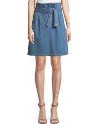 J Brand - Tranquil Pleated Belted Denim Skirt - Lyst