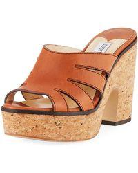 Jimmy Choo - Dray Leather Cork Platform Slide Sandal - Lyst