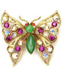 Ben-Amun Crystal Butterfly Brooch - Metallic