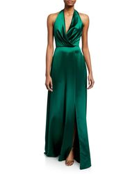 THEIA Plunge Front Heavy Charmeuse Satin Halter Gown - Green