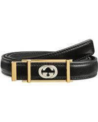 Gucci - Men's Skinny Leather Belt W/ Framed Buckle - Lyst