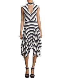 10 Crosby Derek Lam - Sleeveless Mitered Stripe Stretch Jersey Dress - Lyst