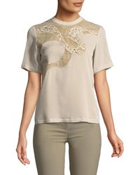 Elie Saab - Short-sleeve Blouse With Lace - Lyst