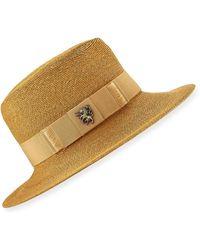 Philip Treacy Raiders Fine Sewn Braid Trilby Hat - Natural