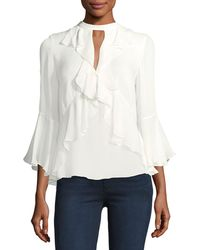 Cinq À Sept - Thea High-neck Ruffled Silk Top - Lyst
