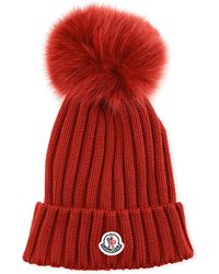 dcc330042bea7 Moncler - Ribbed-knit Beanie Hat W fur Pompom - Lyst