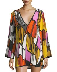 Shan - Picasso Deep-v Long-sleeve Printed Coverup Tunic - Lyst
