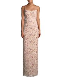 Aidan Mattox - Floral Embroidered Gown W/ Beading - Lyst