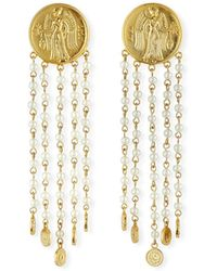 Lulu Frost Currency Pearly Chain Earrings - Metallic