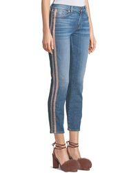 7 For All Mankind - Roxanne Straight-leg Ankle Jeans With Faux-leather Stripes - Lyst