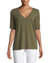 Eileen Fisher - Short-sleeve V-neck Organic Cotton Slub Jersey Tee - Lyst