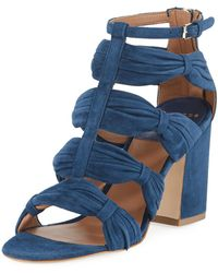 Laurence Dacade - Rocky Ruched Suede T-strap Sandal - Lyst
