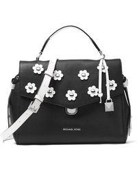MICHAEL Michael Kors - Bristol Two-tone Medium Satchel Bag With Flowers - Lyst