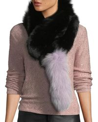 Charlotte Simone Popsicle Fur Pull-through Scarf - Black