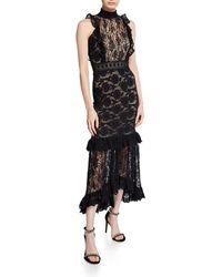 Nightcap Fiora Mock-neck Open-back Sleeveless Lace Cocktail Dress - Black