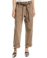 Brunello Cucinelli - Paperbag-waist Straight-leg Cotton Pants W/ Cord Belt - Lyst