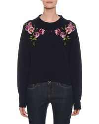Dolce & Gabbana - Crewneck Long-sleeve Cashmere Sweater With Floral & Heart Applique - Lyst
