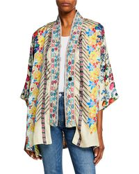 b41b6113906 Johnny Was Plus Size Tyrell Embroidered Silk Bomber Jacket - Save 9% - Lyst
