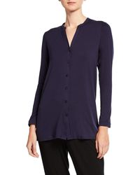 Eileen Fisher Petite Button-front Tunic Shirt With Mandarin Collar - Blue