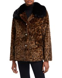 Kate Spade Long-sleeve Faux Fur Leopard Coat - Brown