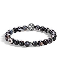 John Hardy Men's Classic Chain Silver Bead Bracelet W/ Agate - Multicolour