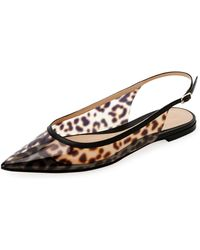8409f8867495 Gianvito Rossi - Patent Leather-trimmed Leopard-print Pvc Slingback  Point-toe Flats