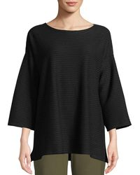Eileen Fisher - Stripe Ribbed Box Top - Lyst