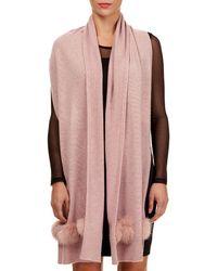 Gorski - Knit Cashmere Stole W/ Fur Pompoms - Lyst