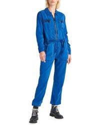 Hudson Jeans Belted Zip-front Twill Jumpsuit - Blue