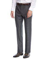 Zanella - Parker Flat-front Grid-effect Sharkskin Trousers - Lyst
