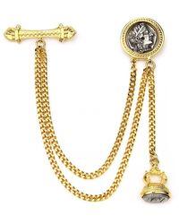 Ben-Amun Double Chain Coin Brooch - Metallic