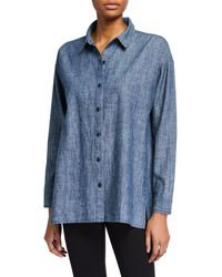 Eileen Fisher Chambray Long-sleeve Notched Hem Shirt - Blue
