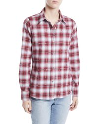 Libertine - Button-front Long-sleeve Classic Beaded Plaid Cotton Shirt - Lyst