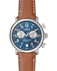 Shinola Men's 41mm Runwell Chronograph Watch Midnight Blue/tan