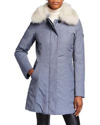 buy popular bc114 228ba Metropolitan Sa Parka Coat With Detachable Fur Collar - Black