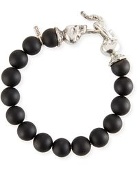 Emanuele Bicocchi Men's Black Onyx Bead Bracelet - Gray