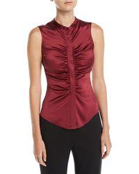 2f33b542bf6c2 Lyst - Michael Kors Scoop-neck Merino silk cashmere Shell in Pink