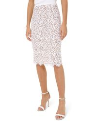 Michael Kors Embroidered Lace Skirt - White