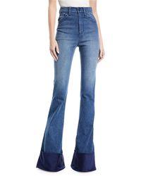 Brandon Maxwell - High-waist Bell-bottom Jeans With Satin Cuff - Lyst