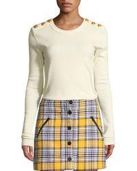 Veronica Beard - Mayer Button-shoulder Long-sleeve Top - Lyst