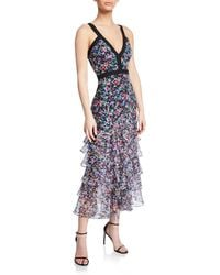 Saloni - Lana Floral V-neck Tiered Flounce Dress - Lyst