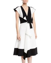 Proenza Schouler - V-neck Sleeveless Colorblocked Dress W/ Tie-waist Detail - Lyst