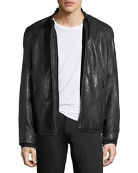 Andrew Marc - Lambskin Leather Cafe Racer Jacket - Lyst